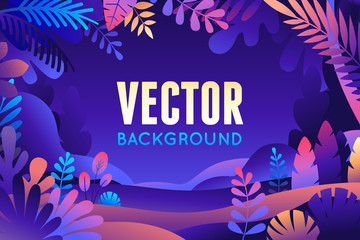 Foto op Aluminium Violet Vector illustration in trendy flat style and bright vibrant gradient colors - background with copy space for text - plants, leaves, trees