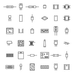 Electronic and radio components from thin line, vector illustration.