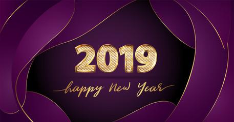 Golden Vector luxury text 2019 Happy new year on purple fluid background