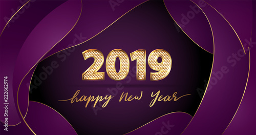 golden vector luxury text 2019 happy new year on purple fluid background