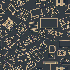 Seamless pattern from a set of household appliances icons, vector illustration.