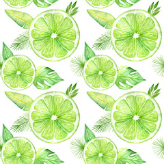 Citrus slice fruits watercolor hand drawn pattern. Orange, lemon, lime isolated on white background. For the design of invitations, greeting cards, wallpapers, banners, web and print