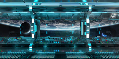 Blue spaceship interior control panel station 3D rendering