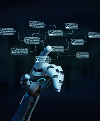White robot on blurred background hacking and accessing private cyber datas