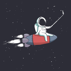 the astronaut photographs himself on spaceship.Vector illustration