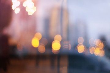 Abstract city light blur blinking background. Soft focus.