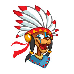 Cartoon Native American character head icon. Vector illustration of native american chief with feathers on his head