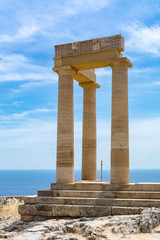 Greek temple columns, Acropolis, Lindos, Rhodes, Greece