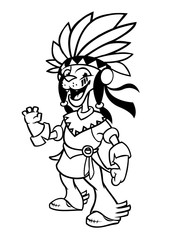 Cartoon native american indian character. Illustration clipart for coloring book