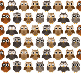 Owls pattern. Different owls characters, seamless pattern.