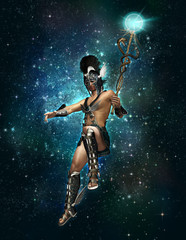 Hermes the messenger of the Gods at night, 3d CG