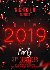 Neon flyer for Happy New Year party. Retro neon red bilboard on brick wall. Concept of holiday poster with glowing text, confetti and serpentine. Vector illustration. Invite to nightclub.