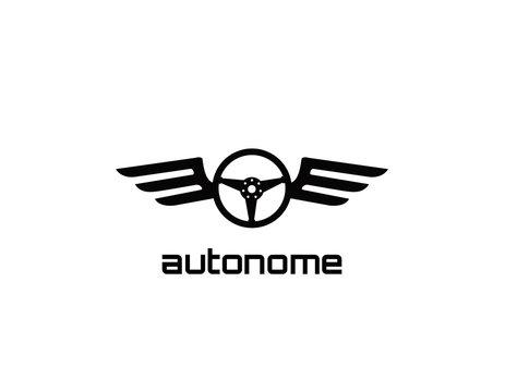 Atonomy, black steering wheel wings logo