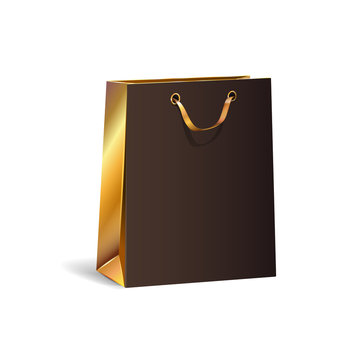 Vector illustration of empty gift paper black shopping bag with gold sides. Isolated Realistic mock up