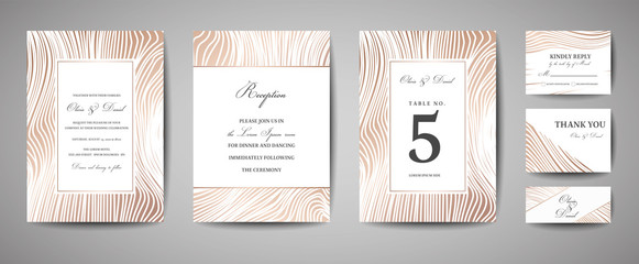 Luxury Wedding Save the Date, Invitation Navy Cards Collection with Gold Foil Wood Texture. Vector trendy cover, graphic poster, geometric floral brochure, design template