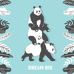 Cute Panda bear illustration, Simple style Birthday greeting card, poster, cover, Wall Print in vector