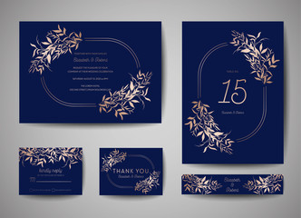Luxury Wedding Save the Date, Invitation Navy Cards Collection with Gold Foil Leaves and Wreath. Vector trendy cover, graphic poster, geometric floral brochure, design template