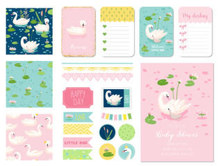 Beautiful Swans Baby Shower Scrapbook Set. Vector Scrapbooking with Decorative Elements, Tags, Labels, Stickers, Notes, Seamless Patterns, Invitation Card Announcement.