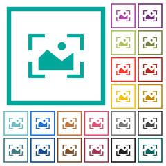 Camera landscape mode flat color icons with quadrant frames