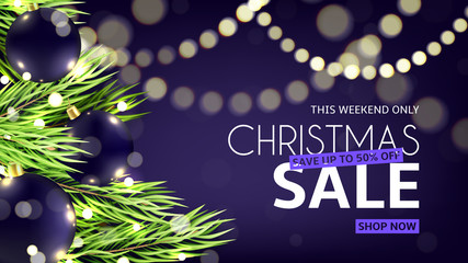 Christmas sale web banner. Vector illustration with glittering garland. Promo festive background with glowing light bulbs and effect.
