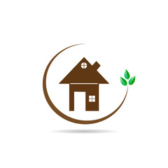 Flat logo with a picture of a house and a branch with green leaves