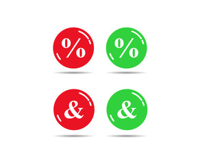 Red and green buttons with percent and ampersand signs
