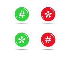 Red and green buttons with asterisks and bars