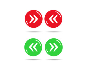 Red and green buttons with right and left quotes
