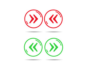 Red and green circle outline with right and left quotes
