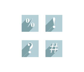 Set of flat icons with exclamation and question marks, percent sign and grid
