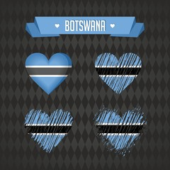 Botswana heart with flag inside. Grunge vector graphic symbols