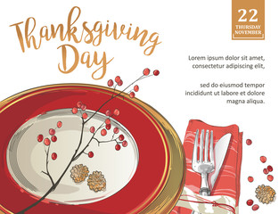 Thanksgiving poster template forks, knives, spoons, empty plate wine glass.