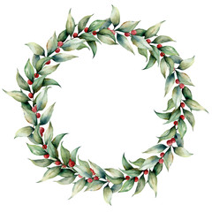 Watercolor wreath with cowberry. Hand painted floral illustration with leaves, berries and branches isolated on white background. Botanical element for design, fabric, print or background.