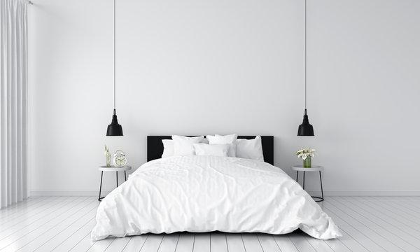 white bedroom interior for mockup, 3D rendering
