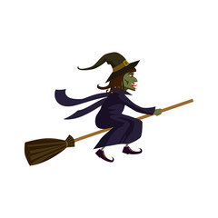 The Witch on a broomstick, holiday Halloween, character, attribute, icon, vector, illustration, isolated, cartoon styyle
