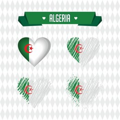 Algeria with love. Design vector broken heart with flag inside.