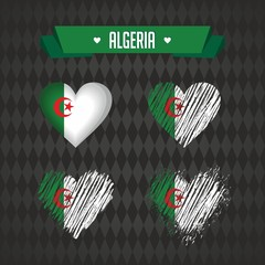 Algeria heart with flag inside. Grunge vector graphic symbols