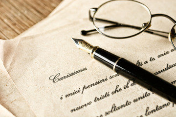 love letter with fountain pen - vintage effect