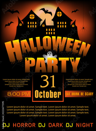 halloween party invitation template or poster and banner vertical