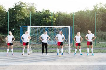 Handball team stretching outside