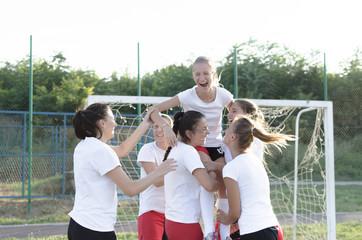 Handball team celebrating