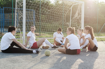 Young female handball team
