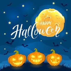 Moon on sky and Halloween pumpkins