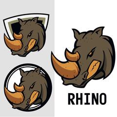 set of rhino vector logo