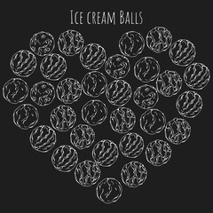 Group of vector illustrations on the sweets theme; set of different kinds of ice cream ballls.  Pictures are depicted as white sketches on a dark background grouped in the heart.