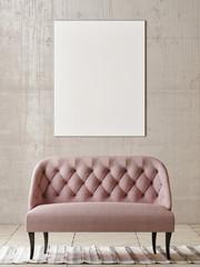 Mock up poster with rose sofa in empty room, 3d render, 3d illustration