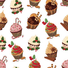 Pattern of vector colorful illustrations on the Christmas sweets theme; set of different kinds of cupcakes decorated with Christmas candies, fruits and nuts. Pictures contain shadows and glare.