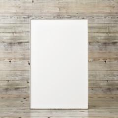 Mock up poster in front of wooden panels, 3d render, 3d illustration
