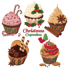 Group of vector colorful illustrations on the Christmas sweets theme; set of different kinds of cupcakes decorated with Christmas candies, fruits and nuts. Pictures contain shadows and glare.
