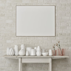 Mock up poster with white decoration on white brick wall, 3d render, 3d illustration